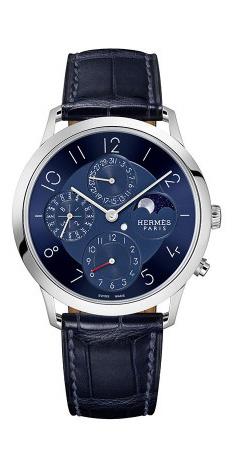 爱马仕Slim d'Hermès铂金万年历腕表